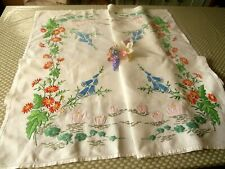 VINTAGE HAND EMBROIDERED LINEN TABLECLOTH-PINK WATER LILIES & FOXGLOVES
