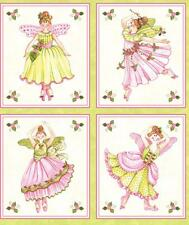 Northcott Bella Ballerina Girl Ballet Shoes Quilt Fabric Block Panel Shabby Pink