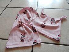 Knotenmützen+Beaniemützen  aus Jersey rosa mit Minnie Maus
