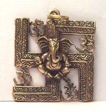 Talisman INDE PENDENTIF GANESH SVASTIKA amulette miniature figurine Thaïlande g3