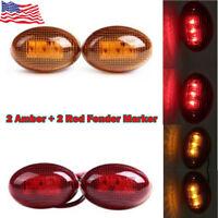 For 99-10 Ford F350 Side Amber Fender Marker Dually Bed LED Lights US Stock