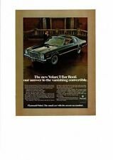 VINTAGE 1978 PLYMOUTH VOLARE T-BAR ROOF CONVERTIBLE CHRYSLER SMALL CAR AD PRINT