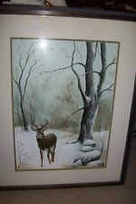 Old Vintage Painting-Winter Wildlife BUCK/STAG RARE Oil J HIGGINS 1980 Ohio Rave