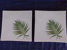Franco Munari Bassano SQUARE Green Leaf SALAD PLATES - SET of TWO