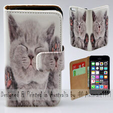 Wallet Mobile Phone Case Flip Cover for iPhone 5 5S - Cute Smilling Kitten Cat
