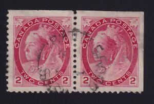 Canada Sc #77b (1899) 2c carmine Numeral Booklet Pair VF Used