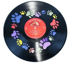 Dog Pawprint Heart- Unique Hand-Painted Vinyl Record Art -BENEFITS CHARITY