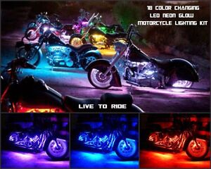 18 Color Led Wireless Remote Big Inch Bikes 20pc Motorcycle Neon Led Kit