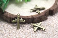 20pcs- Airplane Charms, Antique bronze Aircraft plane charm pendants 20x17mm