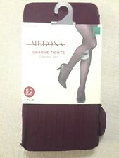 MERONA Opaque* Tights, Control Top, Ribbed, M/L, Burgundy