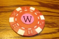 """ W "" Monogram Dice design Poker Chip,Golf Ball Marker,Card Guard Red/White"