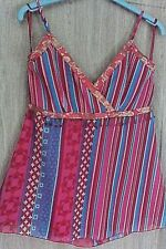 New Look Red Blue Multi Print Sequin & Beaded Fitted Bust Strappy Top  size 10