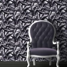 3D Crushed Velvet Silk Fabric Effect Vinyl Wallpaper Grey Black Muriva
