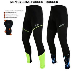 Mens Cycling Tights Winter Thermal Padded Trousers  Legging biking pant bottom