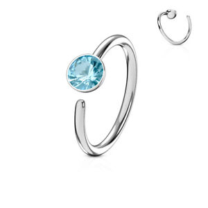 Nose Ring Hoop Cartilage Ring 20 gauge 316L Surgical Steel Bendable CZ Gem