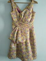 Zac Posen Target Floral Brocade Dress Pink Yellow Size 5 No Tags Pockets UK10