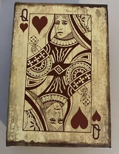 Decorated Wooden Rustic Box Queen Of Hearts
