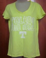 TOLEDO MUD HENS baseball lrg T shirt juniors sexy V-neck neon tee Detroit Tigers