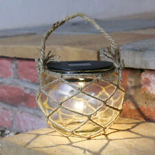 SOLAR POWER GLASS OUTDOOR GARDEN NAUTICAL ROPE LED JAR LANTERN HANGING LIGHT