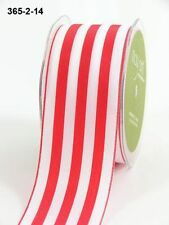 MAY ARTS RIBBONS~SOLID STRIPE~RED & WHITE~2 INCHES WIDE~SOLD BY THE YARD!
