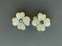 14k White Gold Finish 3.00 CT Round Blue Sapphire & Diamond Flower Stud Earrings