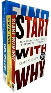 Simon Sinek Collection 3 Books Set Find Your Why, Start With Why, Leaders Eat