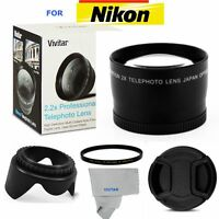 52MM 2.2X TELEPHOTO ZOOM LENS +LENS HOOD +UV FILTER FOR NIKON D3000 D3100 D3200
