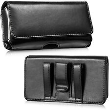Horizontal Genuine Leather Belt Clip Cell Phone Pouch Case Carrying Bag Holder