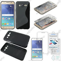 Housse Etui Coque S-line Gel Noir Samsung Galaxy J5 SM-J500F +Film Verre Trempé