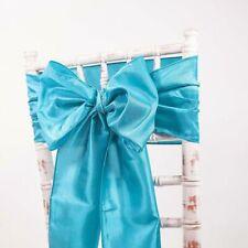 74 turquoise blue taffeta chair sashes bows wedding wide width sash