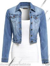 NEW Womens Denim Jacket Jean Stretch Jackets Ladies Blue Size 8 10 12 14 16