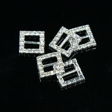 10 pcs Square Crystal Rhinestone Ribbon Buckle Slider Wedding Invitation Craft