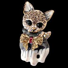 Goldfarbene Brosche Katze mit Schleife, Kristalle, Emaille