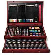 Art 101 142-Piece Wood Art Set Pencils Watercolor Drawing Painting Wooden Case