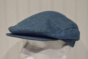 Denim Newsboy/Cabbie/Biker Cap Snap Blue Jeans Vtg Made USA Faded Workwear Large