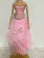 Barbie Doll Model Muse Dancing with the Stars Waltz Pink Tier Ruffle Dress Rare