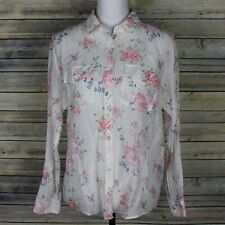 b4405010 The Kooples Vintage Flower Button Up Shirt Silk Blend Pockets White Pink  Medium