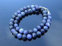 Sodalite Natural Gemstone Necklace 8mm Beaded Silver 16-30inch Healing Stone