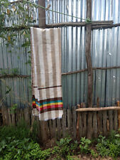 Ethiopian Scarf in Brown and White stripes with Red Yellow and Green