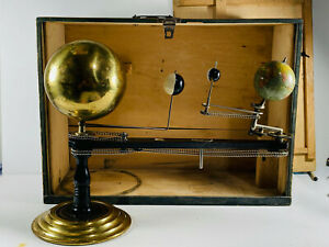 RARE Antique Brass Trippensee Planetarium w/ Shipping Box Orrery READ DESCRIPTIO