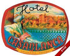 VINTAGE HOTEL CASABLANCA ADVERTISEMENT TRAVEL AD POSTER ART REAL CANVAS PRINT
