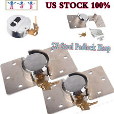 2X 73mm Hidden Shackle Padlock Garage Shed Van Lock Door Security Padlock + Hasp