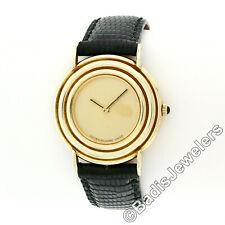 Vintage Lucien Piccard 14k Gold 32.5mm Round Mechanical Wind Unisex Wrist Watch