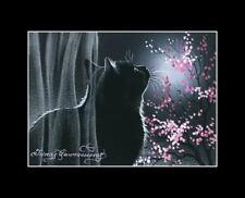 Black Cat ACEO Romantic Night Print by I Garmashova