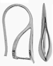ONE PAIR STERLING SILVER 925 EAR WIRES WITH TEARDROP AND INTEGRAL BAIL, 18 MM