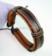 Men's Cool Surfer Leather Hemp Bracelet Wristband Brown