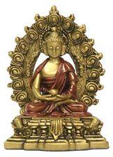 Small Nepali Buddha Seated on Throne Buddhism Gold Red O-067GR