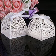 10XLuxury Lovely Wedding Party Sweets Candy Cake Gift Favour Box With Ribbon UK