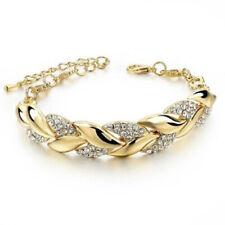 Women Exquisite Rhinestone Crystal Gold Bracelet Adjustable Bangle Cuff Jewelry-