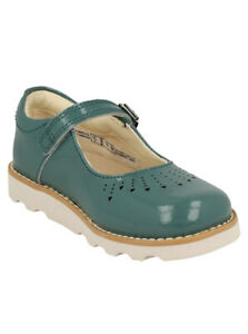 Clarks Crown Jump Teal Patent Leather  Girls Mary Jane Shoes UK SIZE 10 F EU 28